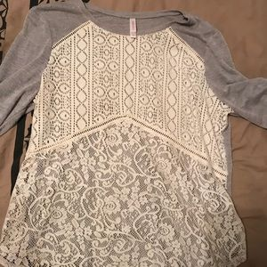 Lace and cotton shirt
